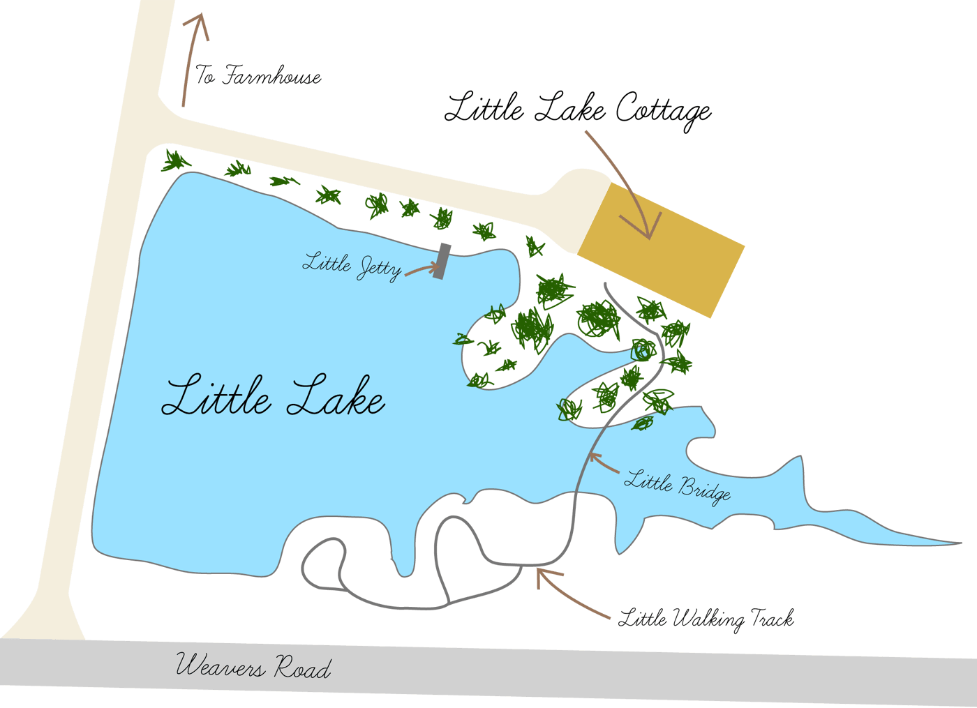 Map of Little Lake Cottage and surrounds